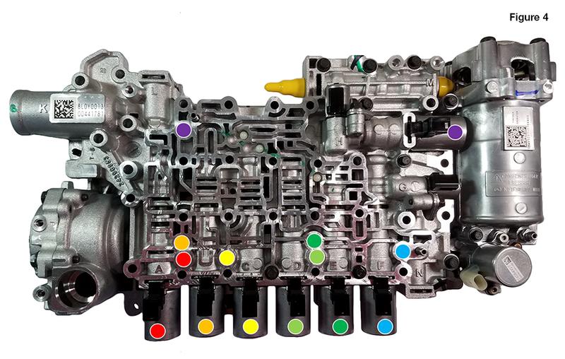 8L45, 8L90 VFS Solenoid & Accumulator Piston Locations