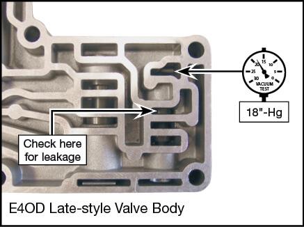 4R100, E4OD Oversized Solenoid Regulator Valve Vacuum Test Locations