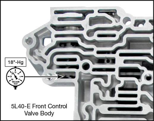 5L40-E, 5L50-E TCC Regulator Valve Kit Vacuum Test Locations