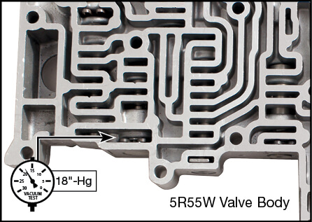 5R55S, 5R55W TCC Modulator Plunger Valve Kit Vacuum Test Locations