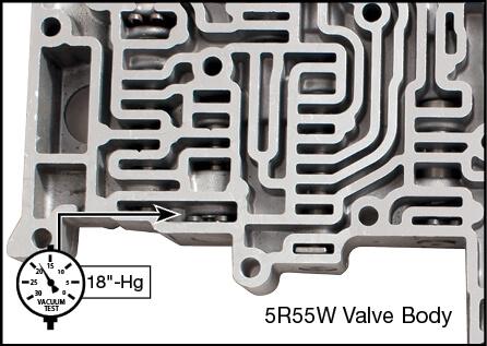 5R55S, 5R55W TCC Modulator Plunger Valve Kit Vacuum Test Locations