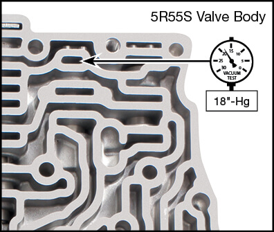 5R55S, 5R55W Oversized Reverse Modulator Valve Kit Vacuum Test Locations