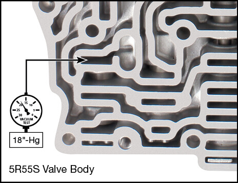 5R55S, 5R55W Reverse Engagement Valve Kit Vacuum Test Locations