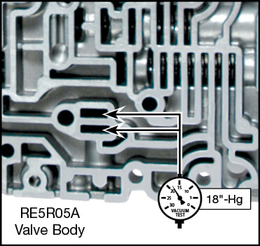 RE5R05A Oversized Cooler Bypass Valve Kit Vacuum Test Locations