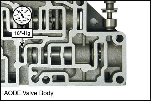4R70E, 4R70W, 4R75E, 4R75W, AODE Elevated Pressure Regulator Valve Kit Vacuum Test Locations