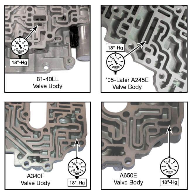 81-40LE, A245E, A246E, A340E, A340F, A650E Lockup Relay Control Valve Kit Vacuum Test Locations