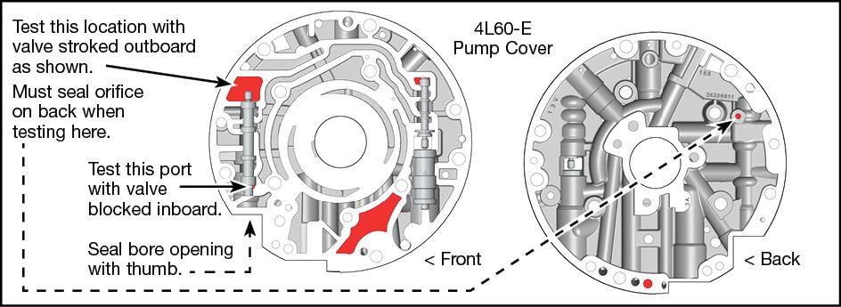 200-4R, 4L60, 4L60-E TCC Apply Valve Kit Vacuum Test Locations