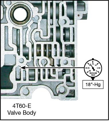 4T60, 4T60-E Oversized TCC Apply Valve Kit Vacuum Test Locations