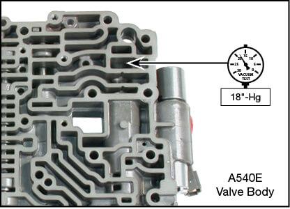 A140, A540E Oversized Pressure Regulator Valve Kit Vacuum Test Locations