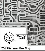 6R60, 6R75, 6R80 (2009-2014), ZF6HP19, ZF6HP26, ZF6HP32 Pressure Regulator Sleeve Vacuum Test Locations