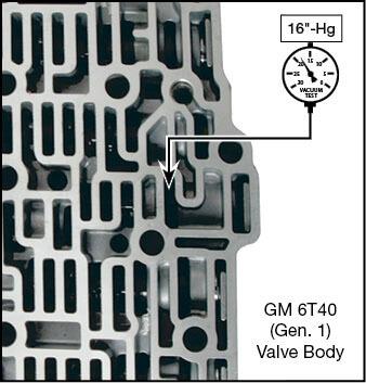 6T30 (Gen. 1), 6T40 (Gen. 1), 6T45 (Gen.1), 6T50 (Gen. 1) Oversized Clutch Boost Valve Vacuum Test Locations