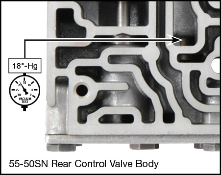 55-50SN, 55-51SN Shift Pressure Control Plunger Valve Kit Vacuum Test Locations