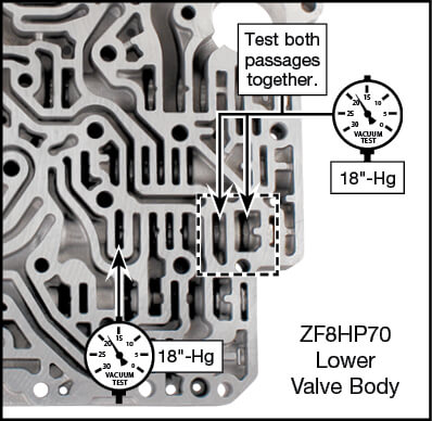 845RE, ZF8HP45, ZF8HP55, ZF8HP70 Oversized TCC Valve Kit Vacuum Test Locations