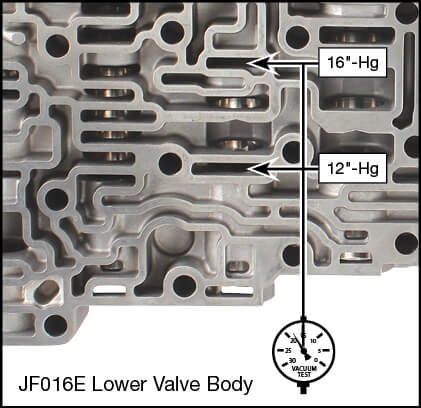 JF016E (RE0F10D), JF017E (RE0F10E) Oversized Torque Converter Lube Regulator & Plunger Valve Kit Vacuum Test Locations