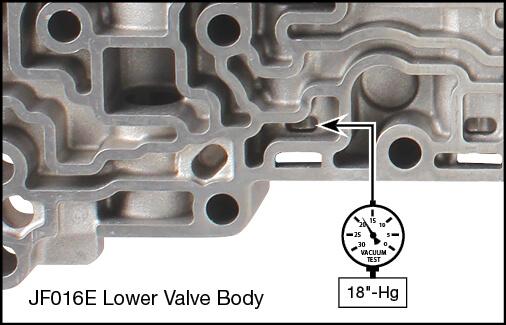 JF016E (RE0F10D), JF017E (RE0F10E) Lockup Control Plunger Valve Kit Vacuum Test Locations