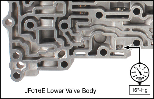 JF016E (RE0F10D), JF017E (RE0F10E) Torque Converter Lube Regulator Plunger Valve Kit Vacuum Test Locations
