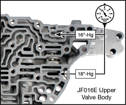 JF016E (RE0F10D) Oversized Primary Pulley Reducing Valve Kit Vacuum Test Locations