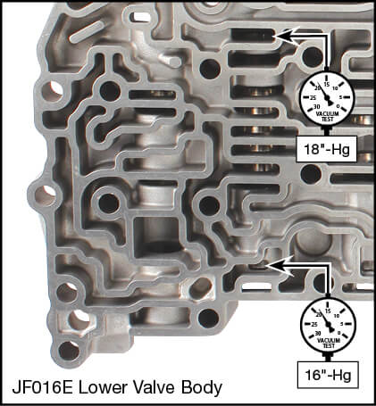 JF016E (RE0F10D), JF017E (RE0F10E) Oversized Lockup Control & Plunger Valve Kit Vacuum Test Locations