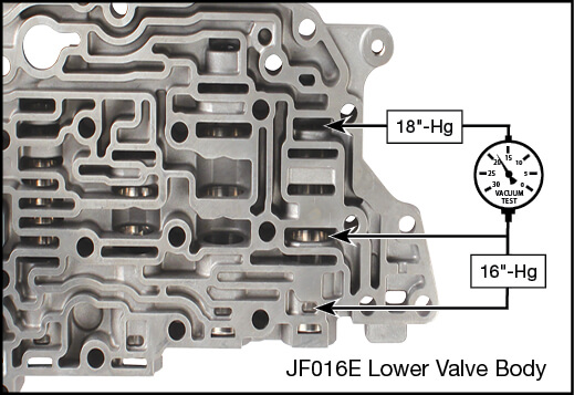 JF016E (RE0F10D), JF017E (RE0F10E) Oversized Secondary Pulley Reducing Valve Kit Vacuum Test Locations