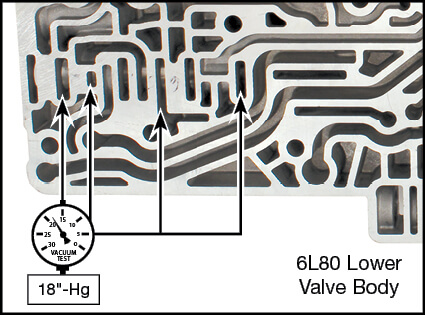 6L45, 6L50, 6L80, 6L90 TCC Regulator Valve Kit Vacuum Test Locations