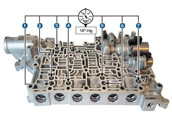 8L45, 8L90 Oversized Signal Accumulator Piston Kit Vacuum Test Locations