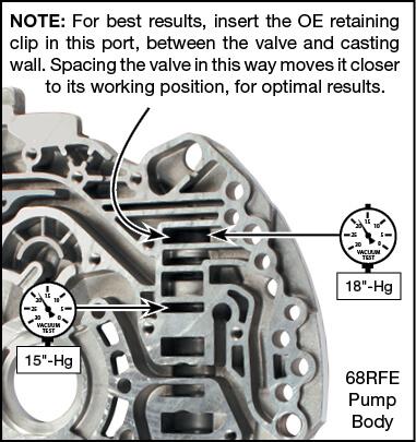 45RFE, 545RFE, 65RFE, 66RFE, 68RFE Lube Regulated Pressure Regulator Valve Vacuum Test Locations