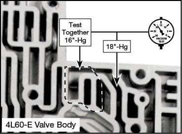 4L60-E, 4L65-E, 4L70-E AX Code Accumulator Valve Sleeve Vacuum Test Locations