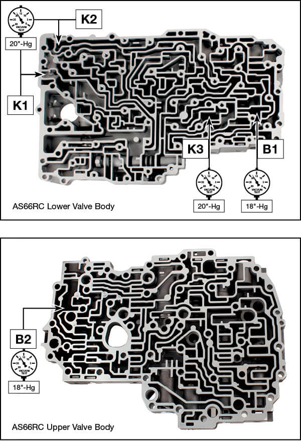 AS66RC, AS69RC B1, B2, K1, K2, K3 Accumulator Piston Kit Vacuum Test Locations