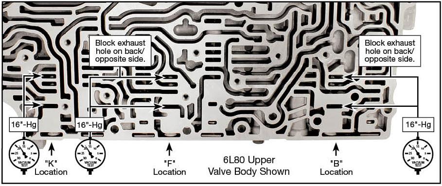 6L45, 6L50, 6L80, 6L90 Oversized Clutch Boost Valve Vacuum Test Locations