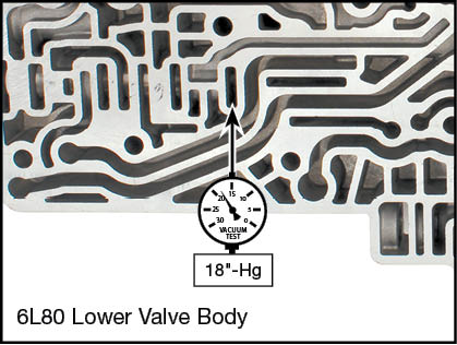 6L45, 6L50, 6L80, 6L90 Oversized TCC Regulator Valve Kit Vacuum Test Locations