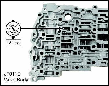 JF010E (RE0F09A/RE0F09B), JF011E (RE0F10A) Oversized TCC Limit & Lube Valve Kit Vacuum Test Locations