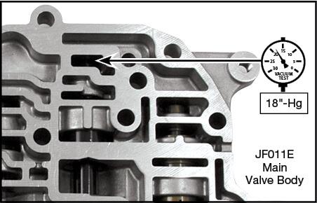 JF010E (RE0F09A/RE0F09B), JF011E (RE0F10A) Oversized Primary Pressure Regulator Valve Kit Vacuum Test Locations