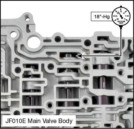 JF010E (RE0F09A/RE0F09B) Oversized Torque Converter Regulator Valve Kit Vacuum Test Locations