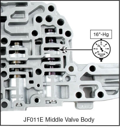 JF011E (RE0F10A) Oversized Secondary Pulley Control Valve Kit Vacuum Test Locations