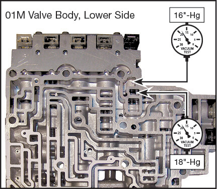 01M, 01N, 01P Oversized TCC Apply Valve Kit Vacuum Test Locations