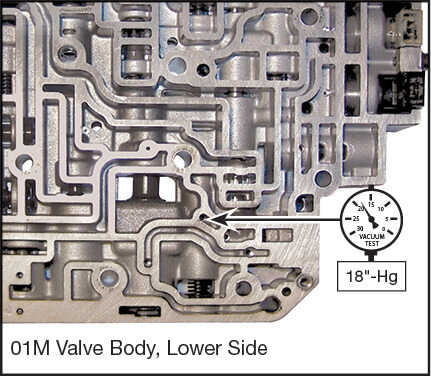 01M, 01N, 01P, 096, 097, 098 Oversized Solenoid Regulator Valve Vacuum Test Locations