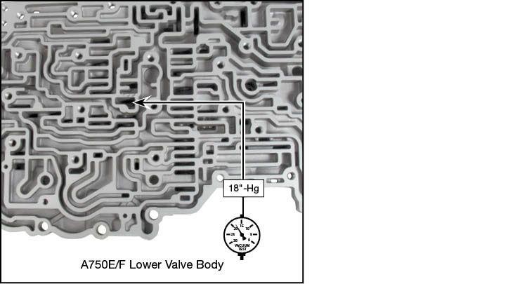 A750E, A750F, A760E, A760F, A760H, A761E, A960E, A960F, AB60E, AB60F Oversized Accumulator Control Valve Kit Vacuum Test Locations