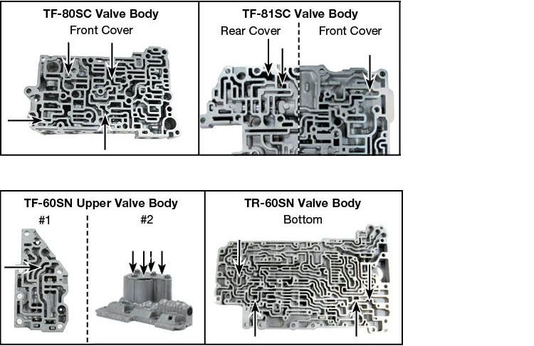 09D, 09G, 09K, 09M, 6F21WA, TF-60SN, TF-80SC, TF-81SC, TR-60SN Accumulator Piston Kit Vacuum Test Locations