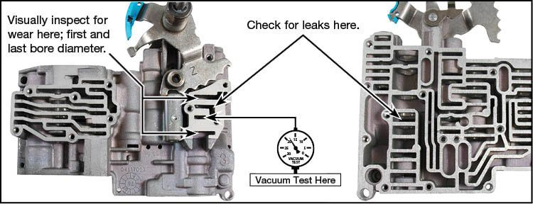 42RE, 42RH, 46RE, 46RH, 47RE, 47RH, 48RE, A727, A904 Oversized Lockup Boost Valve Kit Vacuum Test Locations