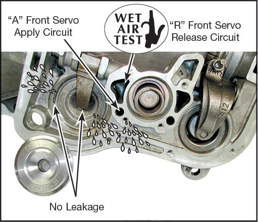 46RE, 46RH, 47RE, 47RH, 48RE, A727 Front Servo Piston Cover Kit Vacuum Test Locations