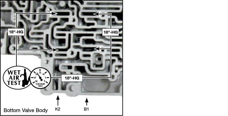 09D, TR-60SN K2 Clutch/B1 Brake Control Valve Kit Vacuum Test Locations