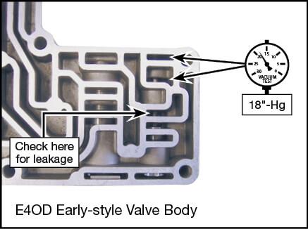 E4OD Oversized Solenoid Regulator Valve Vacuum Test Locations
