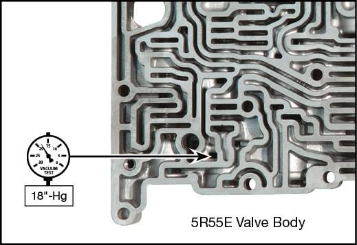 4R44E, 4R55E, 5R44E, 5R55E TCC Regulator Valve Vacuum Test Locations