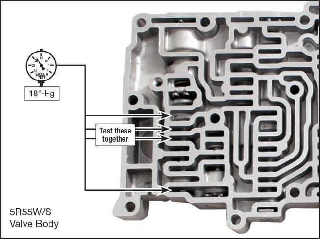 5R55N, 5R55S, 5R55W Oversized TCC Control Valve Kit Vacuum Test Locations