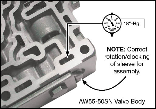 55-50SN, 55-51SN Lockup Relay Control Valve Kit Vacuum Test Locations