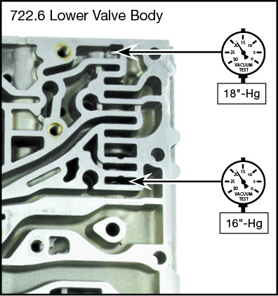 722.6 Oversized TC Lockup Clutch Regulator Valve Kit Vacuum Test Locations