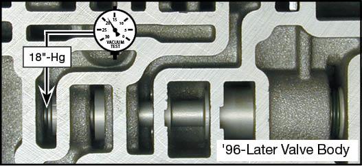 4R70E, 4R70W, 4R75E, 4R75W, AODE Oversized Pressure Regulator & Boost Valve Kit Vacuum Test Locations