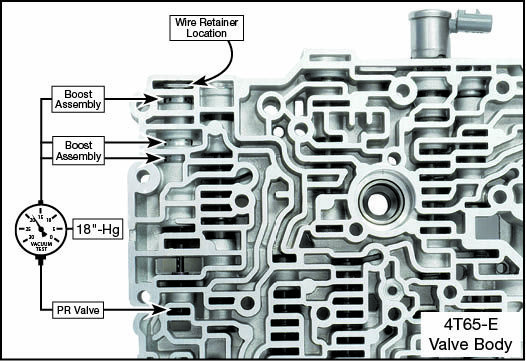 4T60, 4T60-E, 4T65-E Oversized Pressure Regulator Valve Kit Vacuum Test Locations