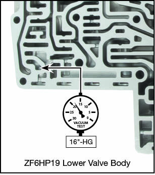 6R60, 6R75, 6R80, ZF6HP19, ZF6HP26, ZF6HP32 Clutch A Control Boost Valve Kit Vacuum Test Locations
