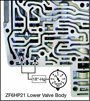 ZF6HP21, ZF6HP28, ZF6HP34 Clutch A & E Control Boost Valve Kit Vacuum Test Locations